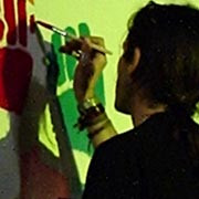 Roma maggio 2006. Pittura dal vivo a piazza Farnese durante il concerto dei Presi per Caso.